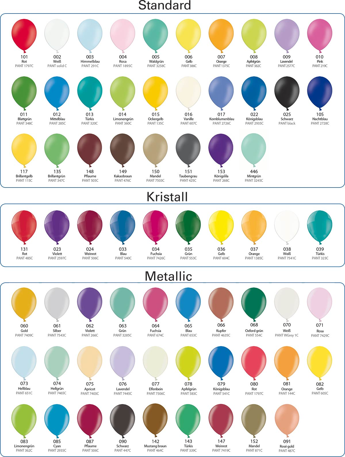 Available balloon colors of www.westeifel-ballons.com