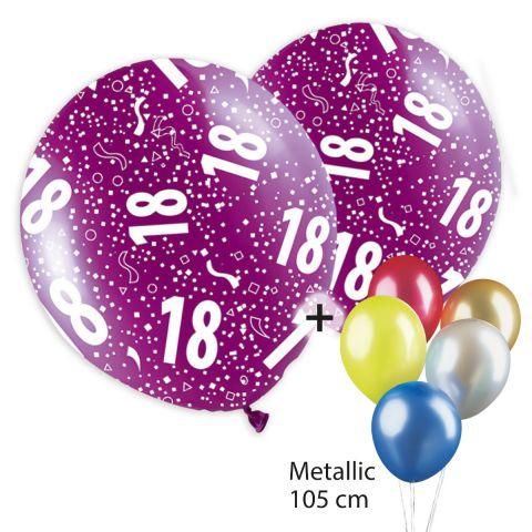 """Rundum mit """"18"""" und Konfetti bedruckte, bunt gemischte Luftballons plus eine Traube aus unbedruckten Metallicballons."""