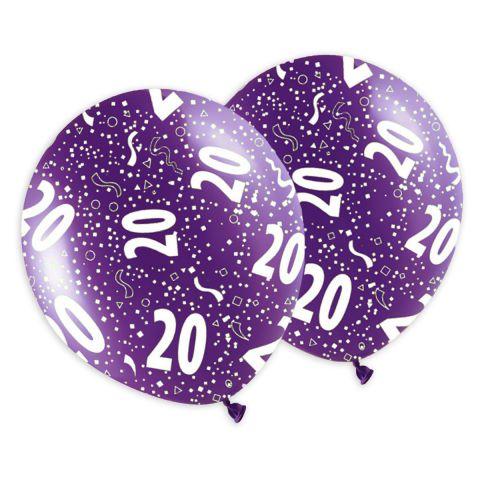 """Bunte Geburtstagsballons mit dem Aufdruck """"20"""" und Konfetti, rundum bedruckt."""