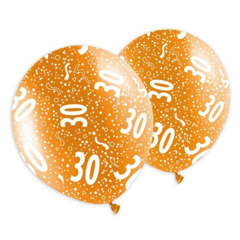 Rundum bedruckte Geburtstagsballons in metallic Optik, mit Aufdruck 30 und Konfetti.