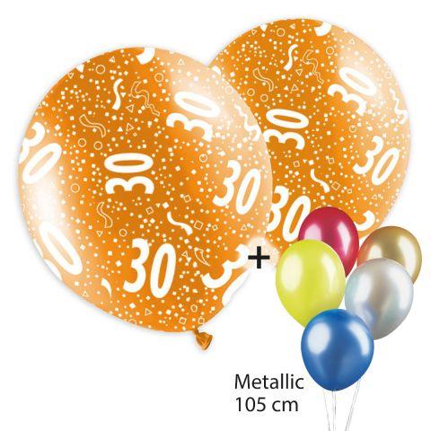 "Bunte Ballons, bedruckt mit ""30"" und Konfetti plus bunt gemischter, unbedruckter Ballontraube in Metallikoptik."