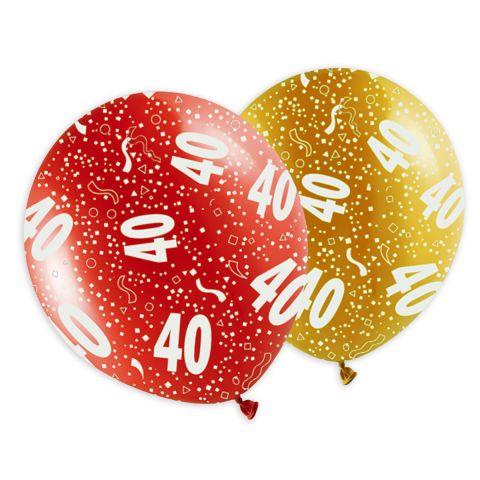 """Bunte Metallicballons für den Geburtstag mit Aufdruck """"40"""" und Konfetti, rundum."""