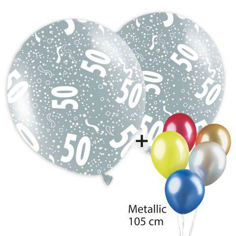 """Bunte Metallicballos, rundum bedruckt mit """"50"""" und Konfettimotiv und unbedruckte Ballons."""