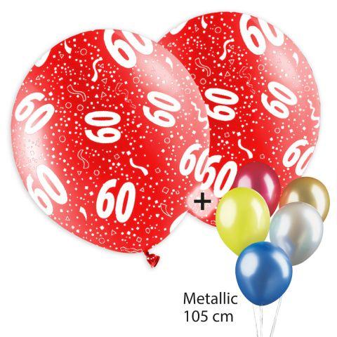 """Bunt bedruckte Ballons mit Motiv """"60"""" und Konfetti plus unbedruckte Metallicballons."""