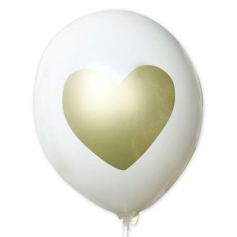 "Balloons ""Golden Heart"" – white balloons with golden imprint"