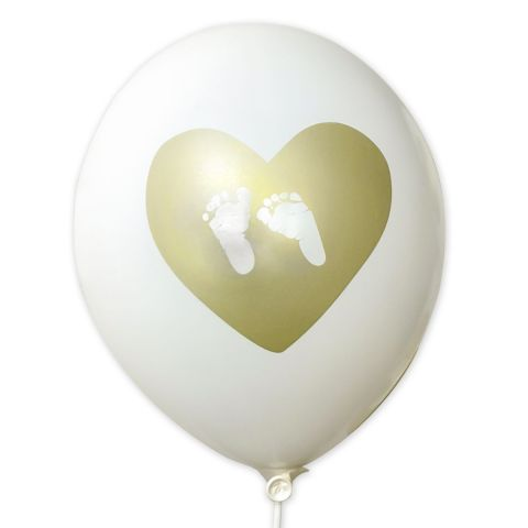 """Balloons """"Heart with baby feet"""" – white balloons with golden imprint"""