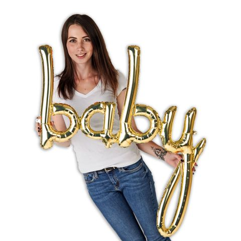 """Folienballon-Schriftzug """"baby"""", 86cm lang. Zu sehen im Größenverhältnis zu einer Person."""