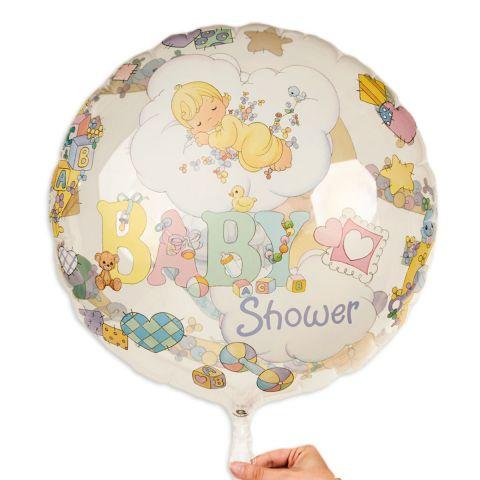 Folienballon rund, flach mit Aufdruck in pastell Baby in Wolken und Schrift Baby-Shower.