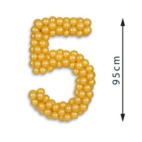 "Easy-Fix-Mini Zahl ""5"" aus goldenen Ballons, Höhe 95 cm"