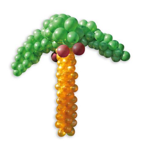 Palme aus Luftballons, ca. 1,40m hoch. Grüne Blätter, goldener Stamm und braune Kokosnüsse.