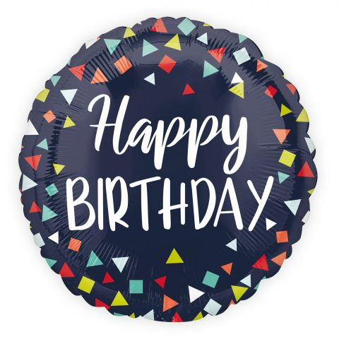 """Dunkelblauer Folienballon mit bunten Dreiecken und Vierecken und weißerAufschrift """"Happy Birthday"""""""