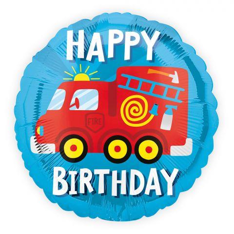 """Runder, blauer Folienballon mit rotem Feuerwehrauto und Schriftzug """"happy Birthday"""""""
