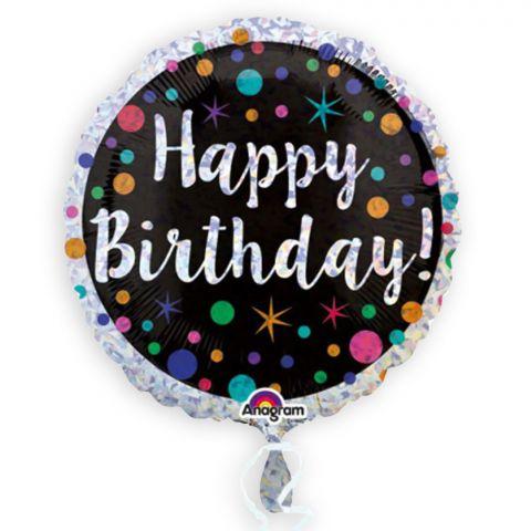 Runder Folienballon in silber mit schwarzem Feld und bunten Punkten und Sternchen