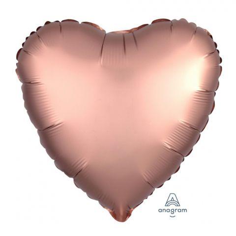 Folienballon Herz in der Farbe Satin lux rosé copper