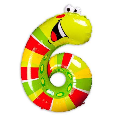 """Große """"6"""" als Folienballon in grün/hellgrün/gelb/rot, Tiermotiv: Schnecke/Raupe."""
