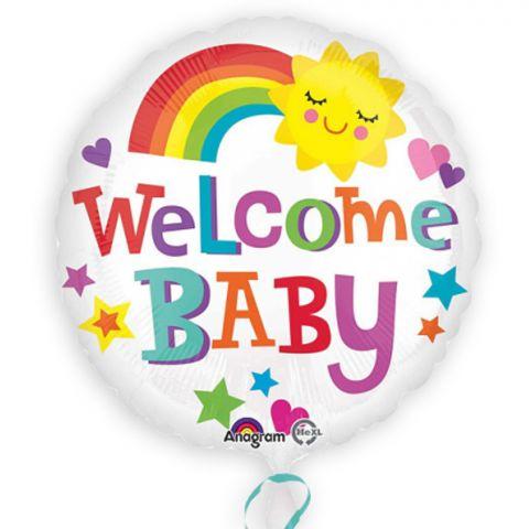 """weißer Folienballon mit buntem Regenbogen, Sonne und buntem Aufdruck """"Welcome Baby""""."""