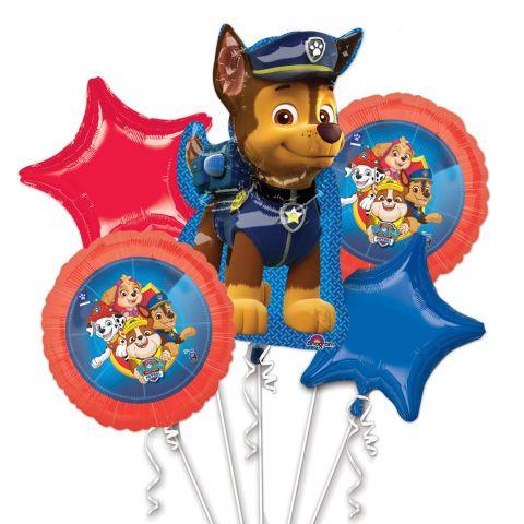 5 verschiedene Folienballons für den Kindergeburtstag Paw Patrol.