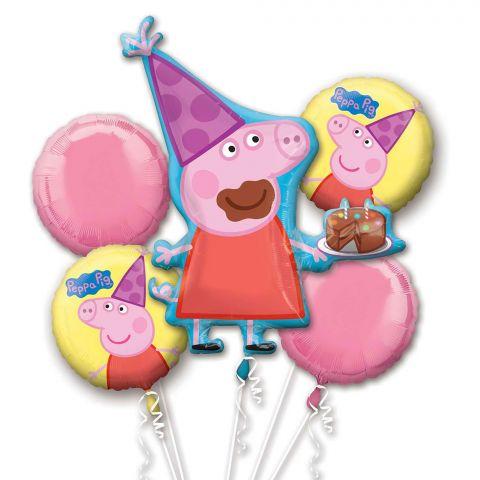 5 verschiedene Folienballons für den Kindergeburtstag Peppa Pig