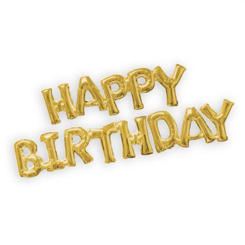 "Folienballongirlande-Kette, Schriftzug ""Happy Birthday"""