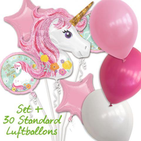 """Folienluftballonset """"Einhorn"""" und """"Stern"""", """"Believe in Unicorns"""" in rosa und weiß mit 30 Standard Luftballons in weiß, rosa und pink"""