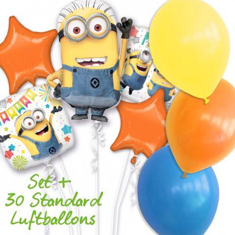 Folienballon-Set Thema Minions, 3 Minton-Folienballons und 2 orange Folienballons in Sternform. Plus 30 Standard Ballons in gelb, orange und blau.