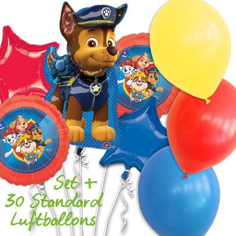 Paw Patrol Set Folienballons, Hund Chase in groß, 2 Team-Folienballons, 1 roter und 1 blauer Stern, 30 Standard Ballons in rot, gelb, blau