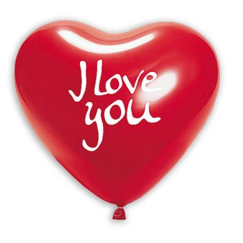 "Roter Herzluftballon mit Audruck ""I love you"""