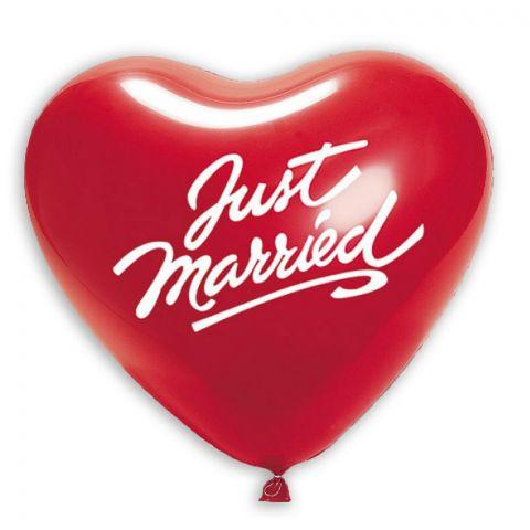 """Roter Herzballons mit Aufdruck """"Just married"""""""