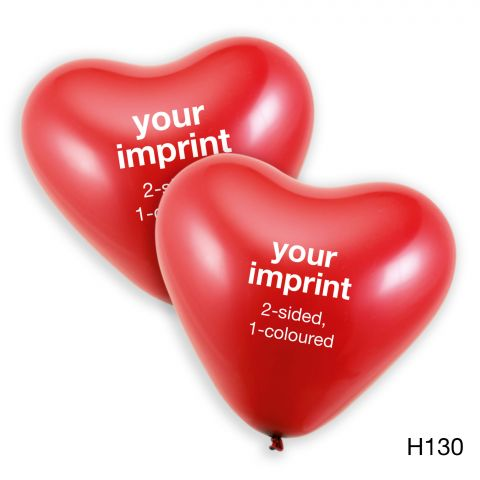 Your print in white, 2-sided, on large, red heart balloons.