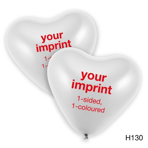 Your imprint in red on large white heart balloons, 1-sided