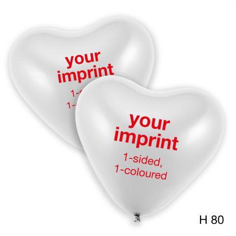 """2 weiße Herzballons mit rotem Aufdruck """"Ihr Aufdruck, einseitig, einfarbig"""""""