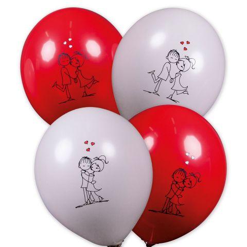 Rote und weiße Ballons mit 2 unterschiedlichen Motiven. Motiv 1: Liebespaar eng umschlungen mit 3 Herzen, Motiv 2: Liebespaar Kopf an Kopf mit 3 Herzen.