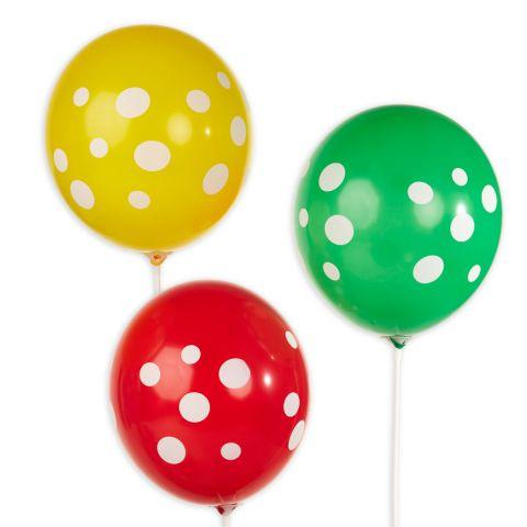 Bunte Ballons mit weißen aufgedruckten Punkten, rundum.