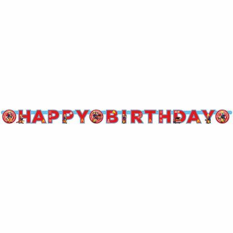 """Papiergirlande Schriftzug """"Happy Birthday"""", Motiv Feuerwehrmann Sam, komplett sichtbar"""