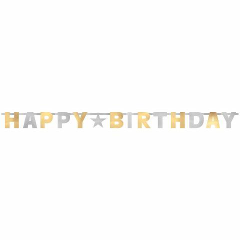 """komplett sichtbarer Schriftzug """"Happy-Birthday"""" mit Buchstaben in gold und silber"""