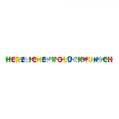 """Papiergirlande """"Herzlichen Glückwunsch"""" aus bunten, glänzenden Buchstaben, komplett sichtbar"""
