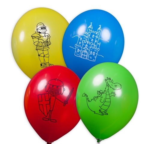 Bunte Ballons mit verschiedenen, schwarzen Rittermotiv-Aufdrucken. (Motive: Ritterrüstung, Ritter, Burg, Drache)