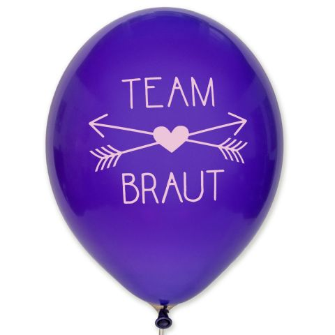 "Balloons ""Team Braut"" – purple balloons with pink imprint"