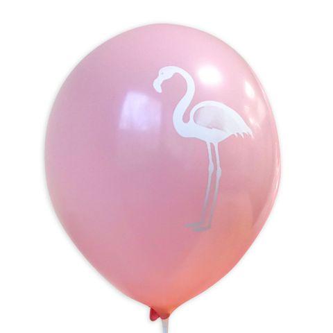 """Rosa Ballon mit weißem Audruck """"Flamingo""""."""