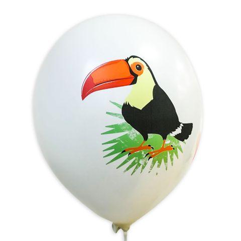 """Weißer Luftballon mit Motiv """"bunter Tukan auf grünem Blatt""""."""
