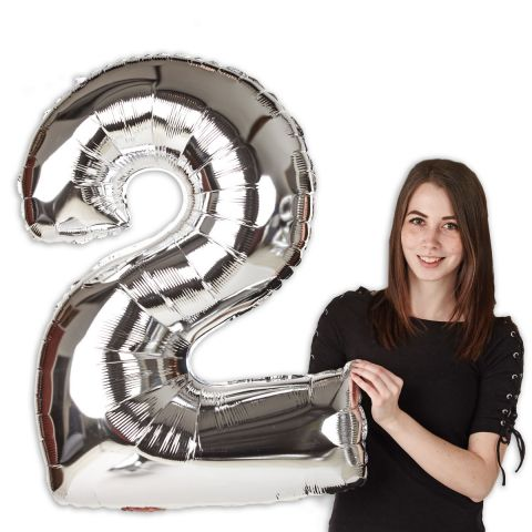 """Foil balloon number """"2"""" silver, size 101 cm"""