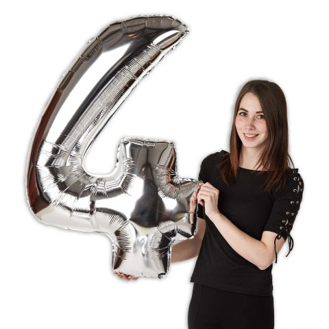 """Foil balloon number """"4"""" silver, size 101 cm"""