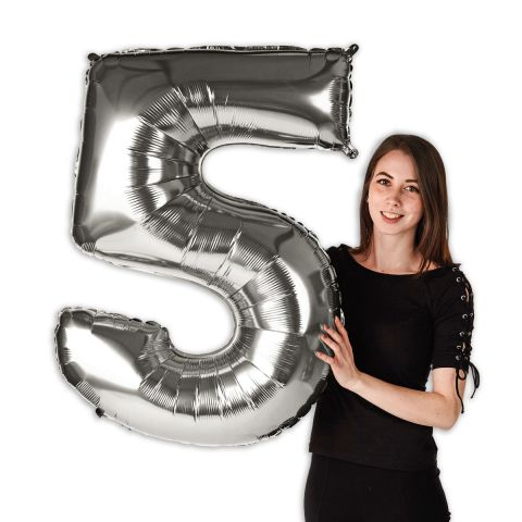 """Foil balloon number """"5"""" silver, size 101 cm"""