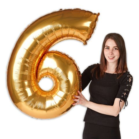 """Foil balloon number """"6"""" gold, size 101 cm"""