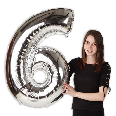"""Foil balloon number """"6"""" silver, size 101 cm"""