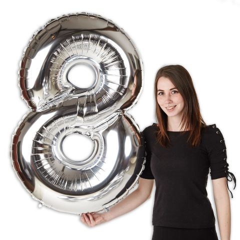 """Foil balloon number """"8"""" silver, size 101 cm"""