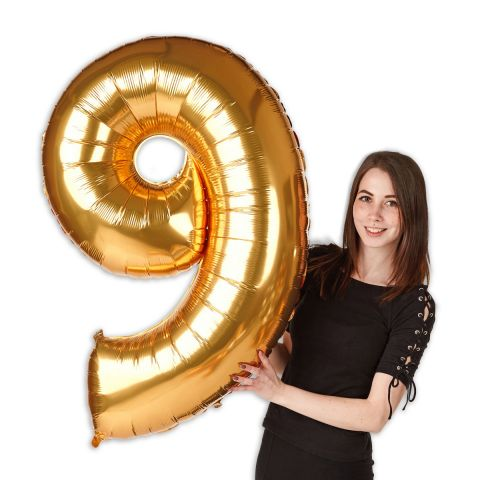 """Foil balloon number """"9"""" gold, size 101 cm"""