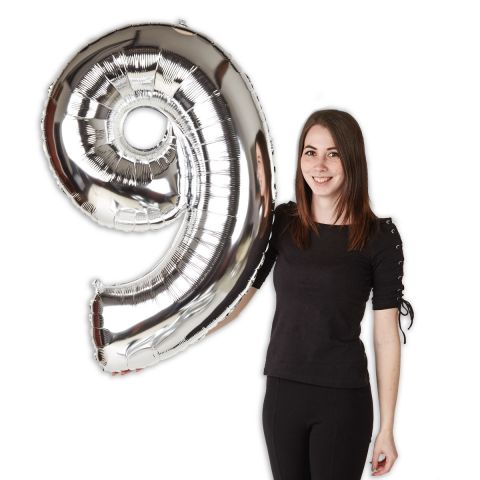 """Foil balloon number """"9"""" silver, size 101 cm"""